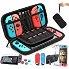 Case Compatible with Nintendo Switch Carry Case 9 in 1 Pouch Switch Cover Case HD Switch Screen Protector Thumb Grips Caps fo