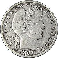 1907 O 50c Barber Silver Half Dollar Coin F Fine