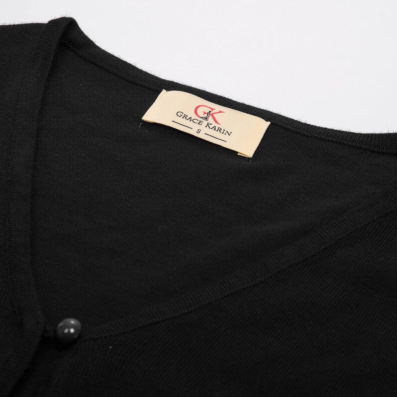 6095846318 ... GRACE KARIN Strickjacke Damen Kurz Cardigan Langarm Outwear CLAF20 ...