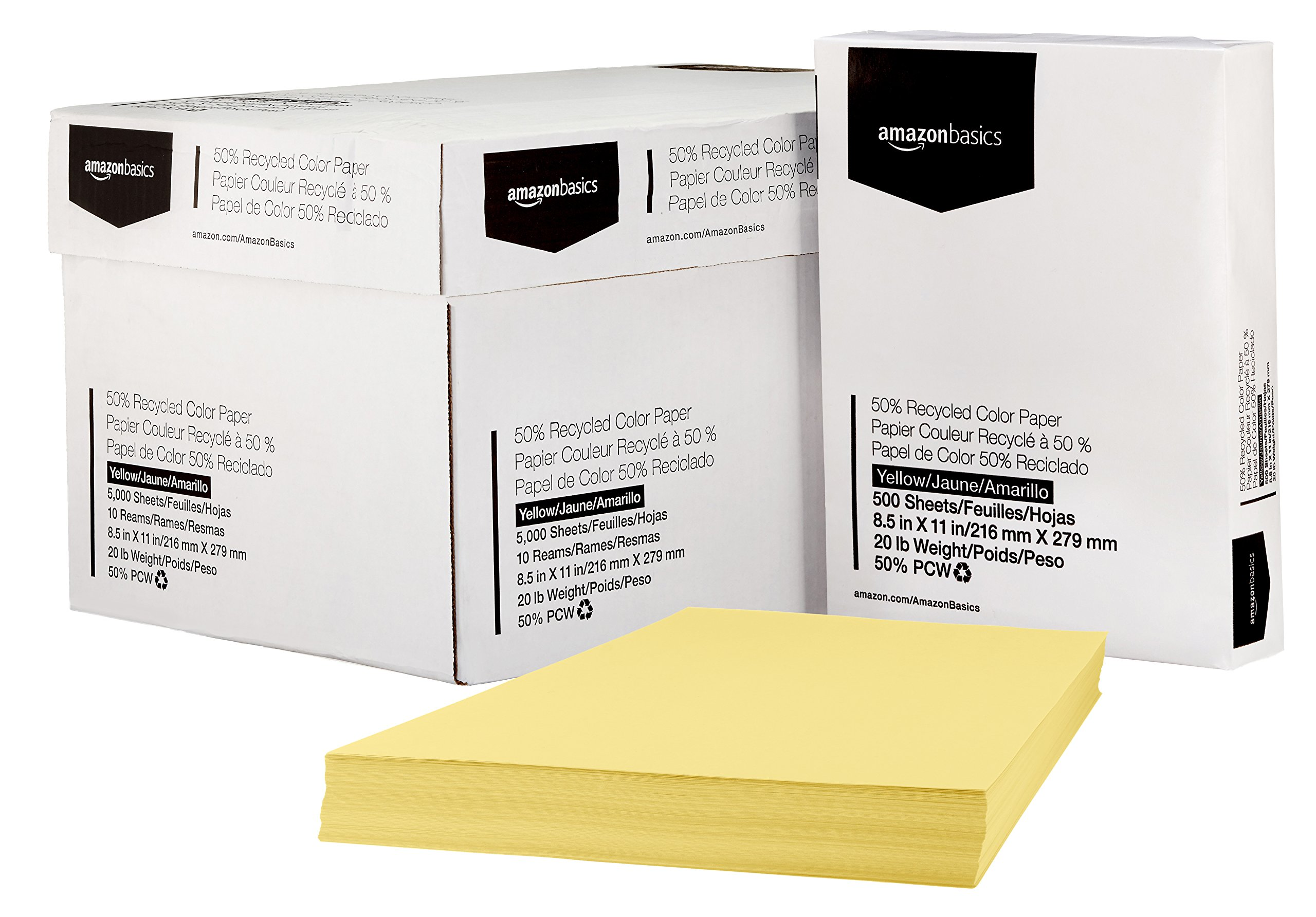 AmazonBasics 50% Recycled Color Paper - Yellow, 8.5 x 11 Inches, 20 lbs, 10 Ream Case (5,000 Sheets)