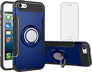 Phone Case for Apple iPhone 5S 5 SE 5SE 2016 with Tempered Glass Screen Protector Cover Stand Ring Holder Hybrid Cell Accessories iPhone5 iPhone5s iPhoneSE iPhone6se i 6SE iPhone5se Cases Men Blue