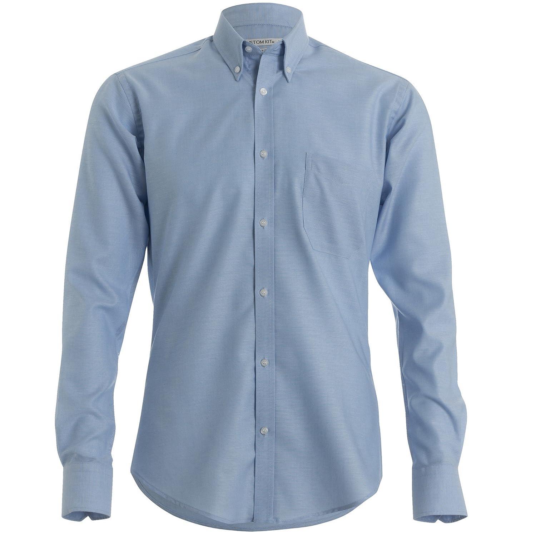KUSTOM KIT Mens Slim Fit Long Sleeved Oxford Work Shirt