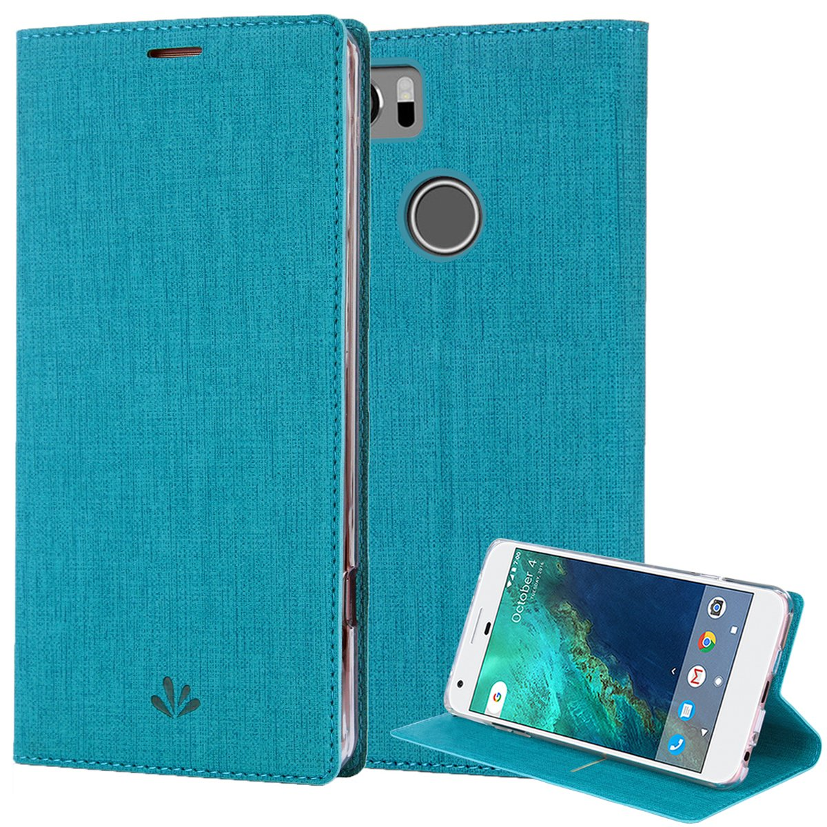 Google Pixel 2 XL Case, PU Leather Slim Flip Wallet Card Slots Cover Kickstand Feature and TPU Bumper Full Body Protection for Pixel 2 XL (Blue)