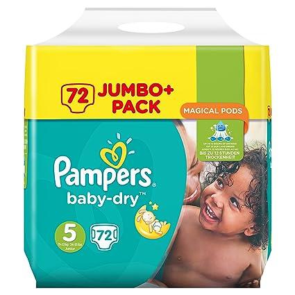 Pampers Baby-Dry Pack de 72 pañales talla 5 de 11 a 23 kg.