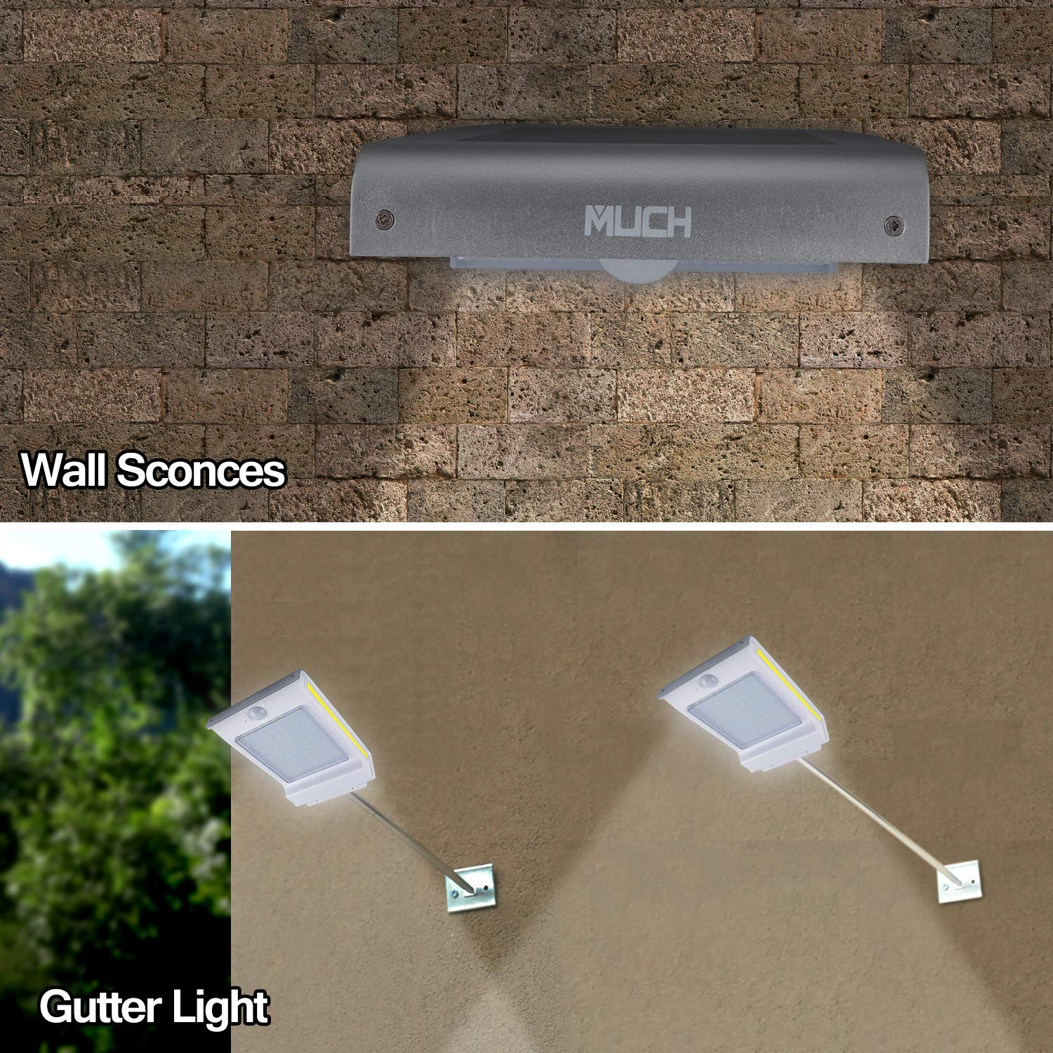 Black MUCH Gutter Solar Lights 72 LED PIR Motion Sensor Lamp Security Lighting Wall Sconces Solar Powered Motion Activated Wireless Waterproof Auto On//Off Outdoors for Patio Yard Garden Garage