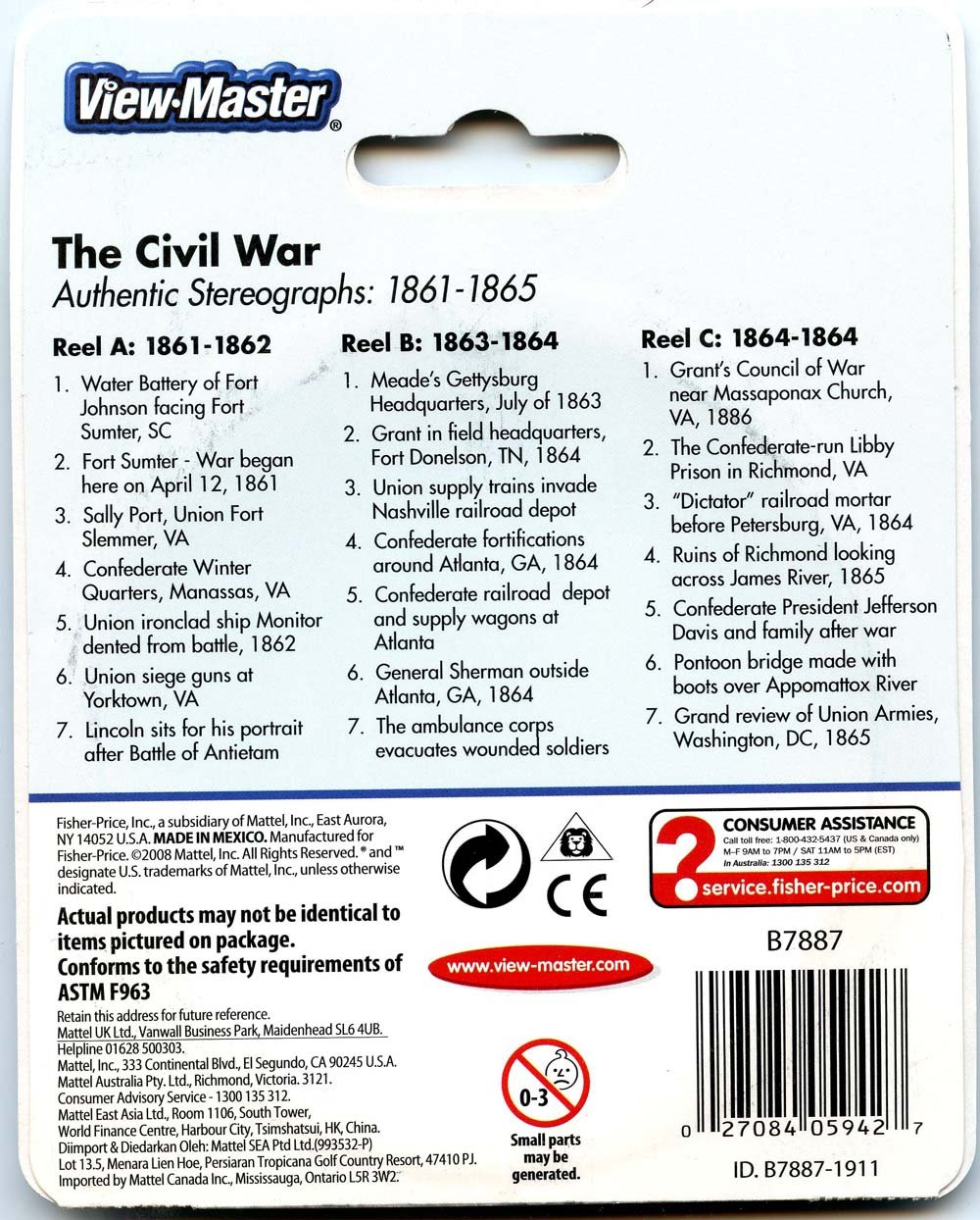 ViewMaster -The Civil War - Authentic Stereographs 1861-1865 - 3 Reels on Card- NEW by 3Dstereo ViewMaster (Image #2)
