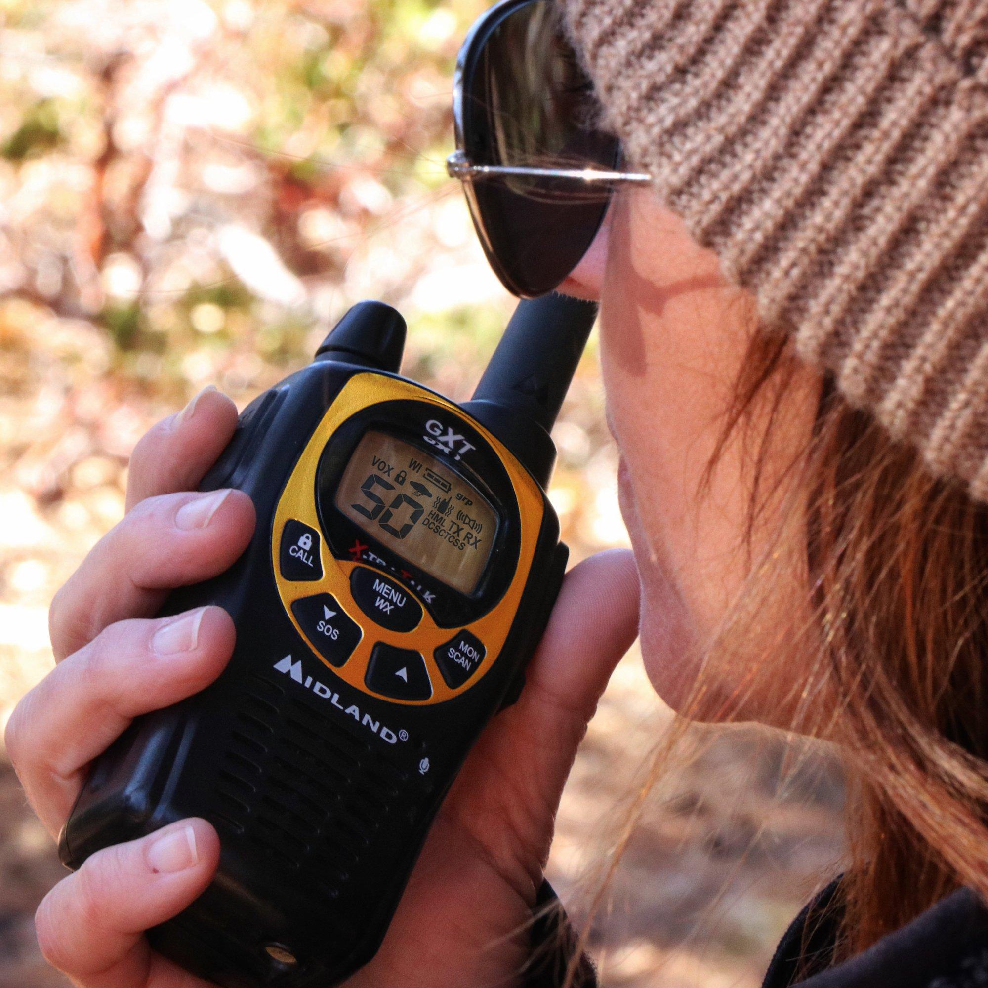 Midland - GXT1030VP4, 50 Channel GMRS Two-Way Radio - Up to 36 Mile Range Walkie Talkie, 142 Privacy Codes, Waterproof, NOAA Weather Scan + Alert (Pair Pack) (Black/Yellow) by Midland (Image #5)