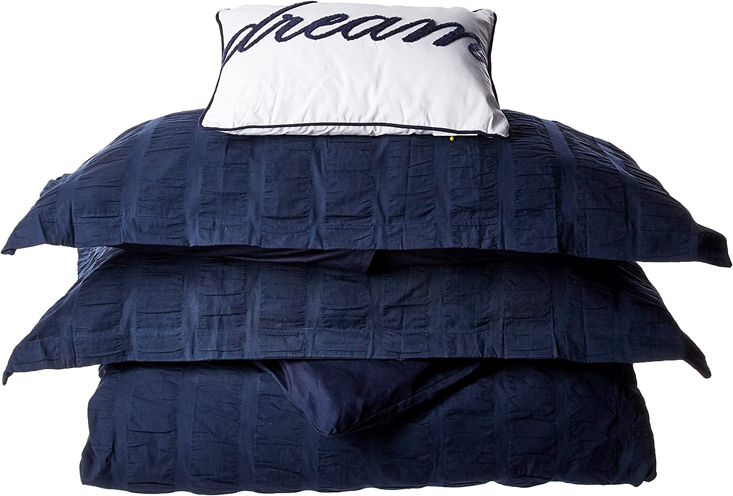 Chic Home 4 Piece Millbury 100% Cotton 200 Thread Count Organic Casual Ruffled and Pleated Textured Fabric King Duvet Cover Set Navy