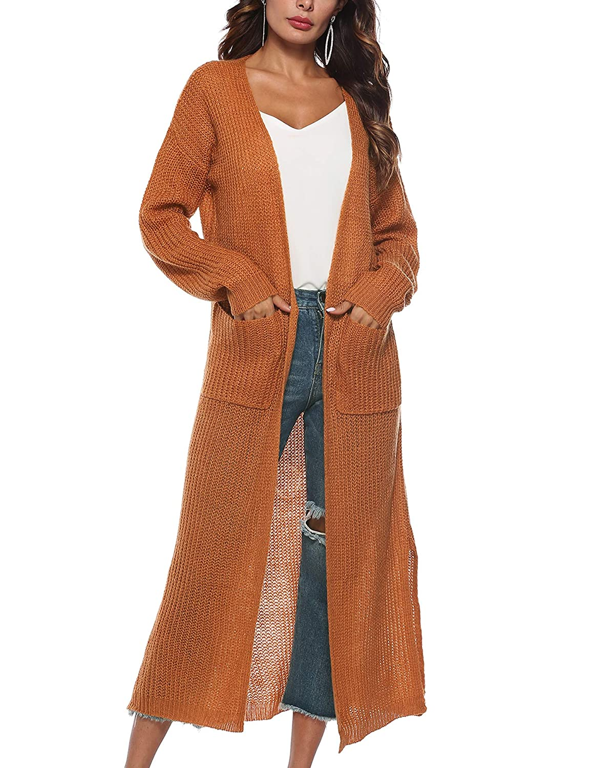 Blaward Women's Long Open Front Drape Lightweight Maxi Long Sleeve Split Cardigan Sweater with Pocket