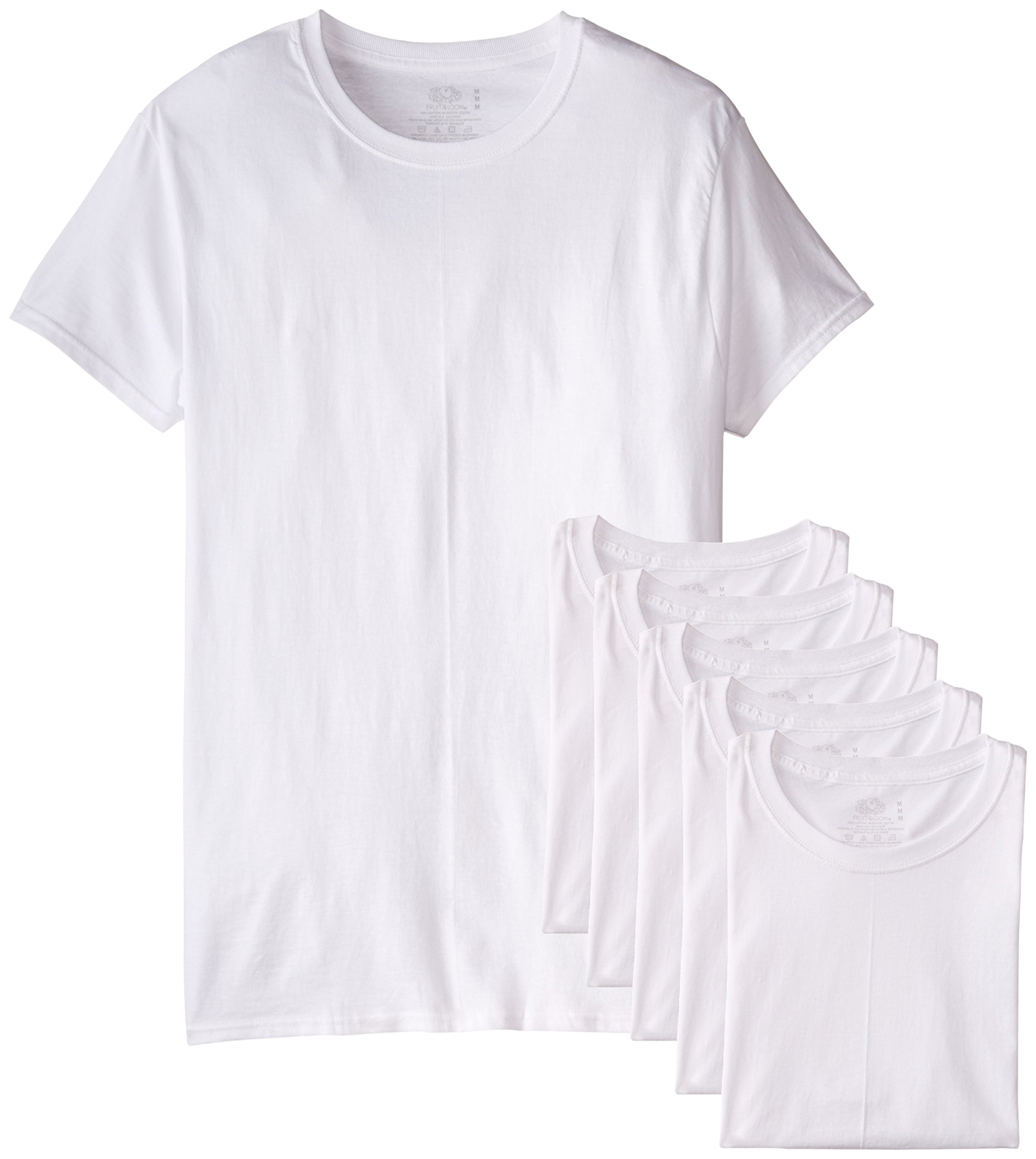 Fruit of the Loom Men's Stay Tucked Crew T-Shirt - Large - White (Pack of 6) by Fruit of the Loom