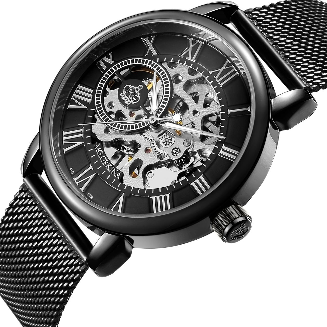 Sweetbless Wristwatch Men's Royal Classic Roman Index Hand-Wind Mechanical Watch (Black-Black)