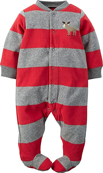 c8338cb2f Amazon.com: Carter's Baby Boys' Striped Moose Footed Coverall - 3 ...