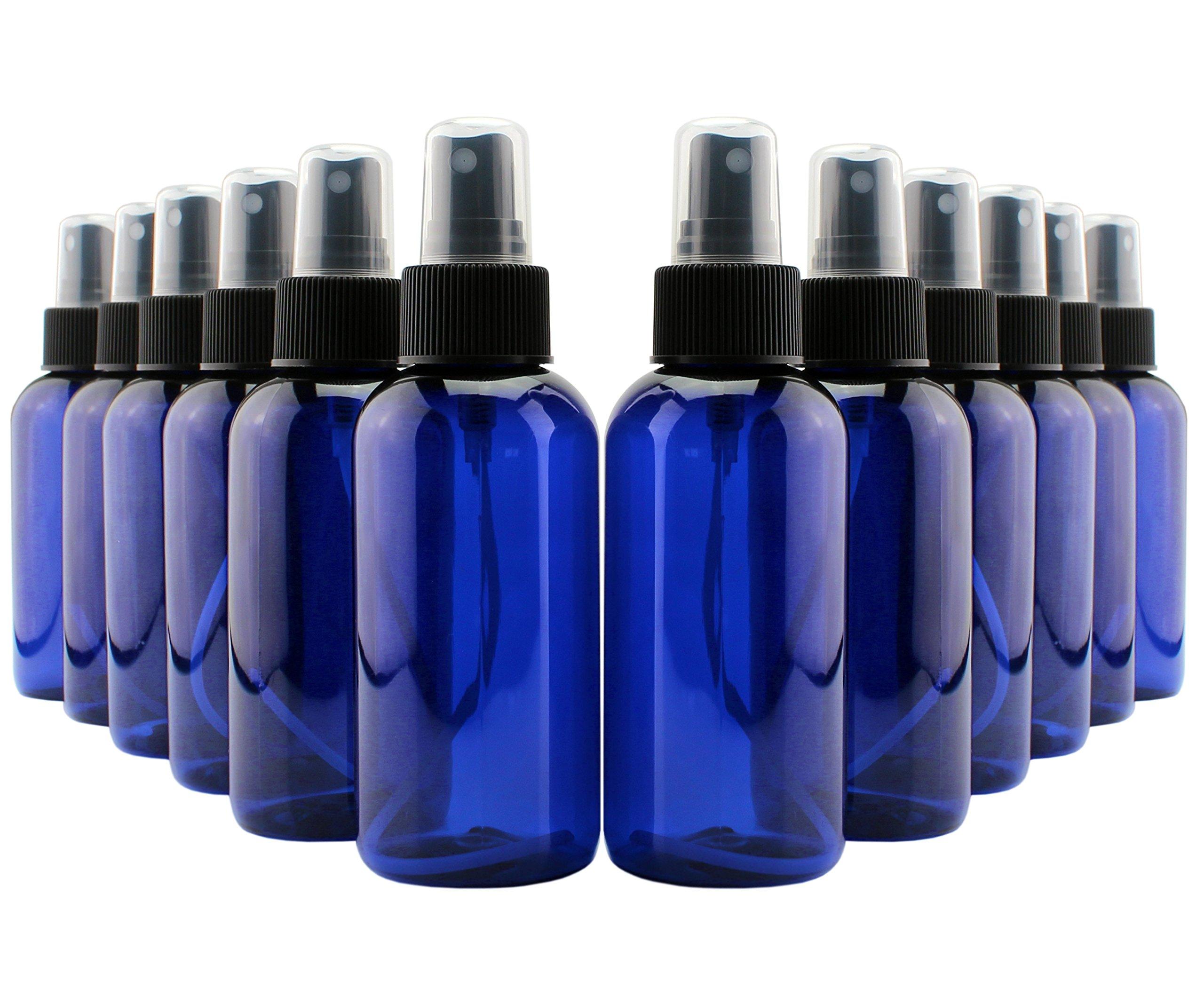 4oz Cobalt Blue Plastic PET Boston Round Fine Mist Spray Bottles (12-Pack w/Black Sprayers); Labels Included