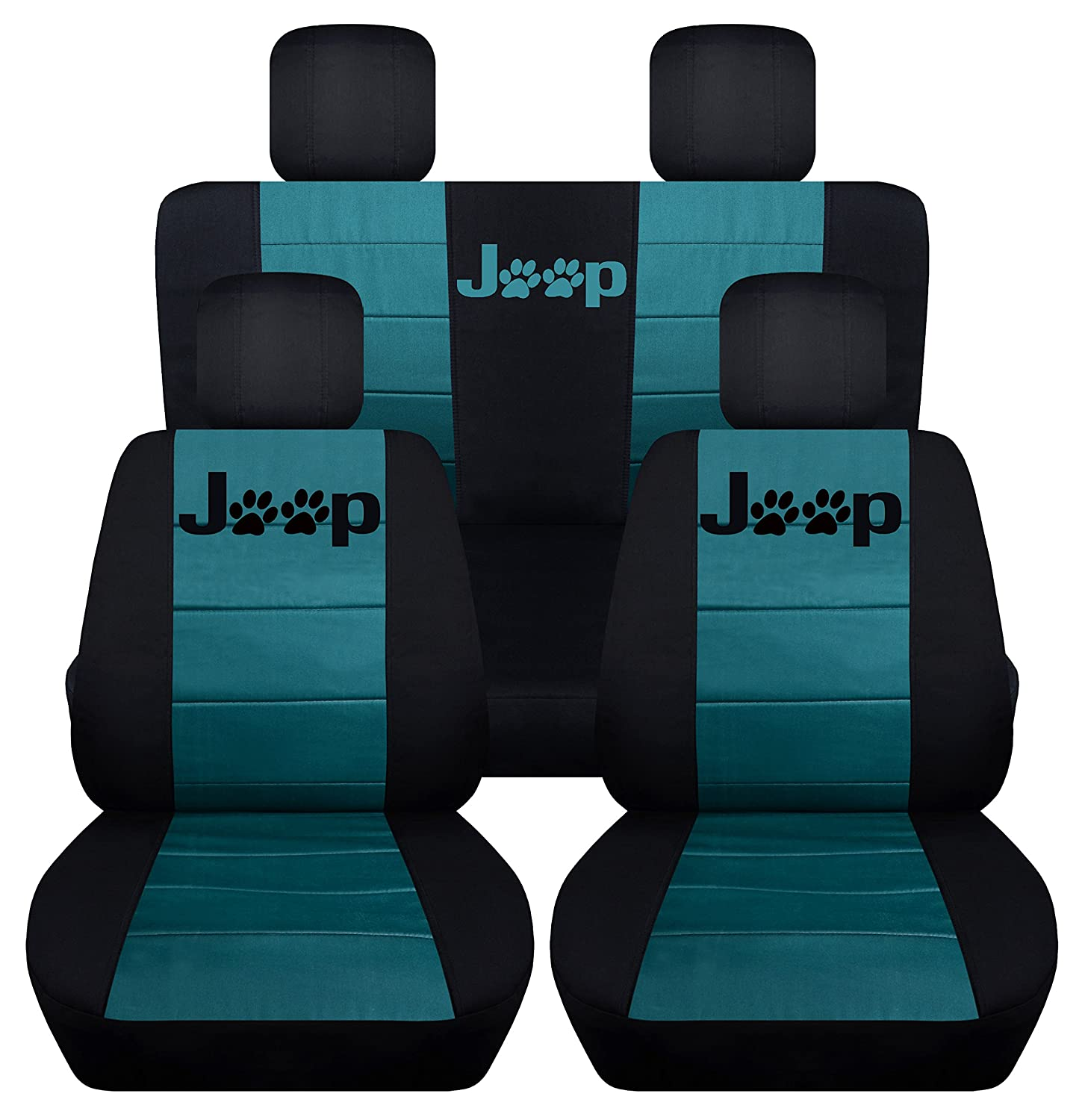 Designcovers Fits 2013 to 2017 Jeep Wrangler 4 Door Paw Print Seat Covers 21 Color Options (Black and Lime Green)