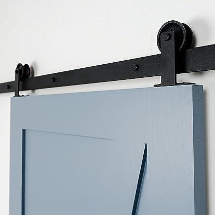 6ft Barn Door Hardware Kit Top Mount Sliding Barndoor Black 72u0026quot;