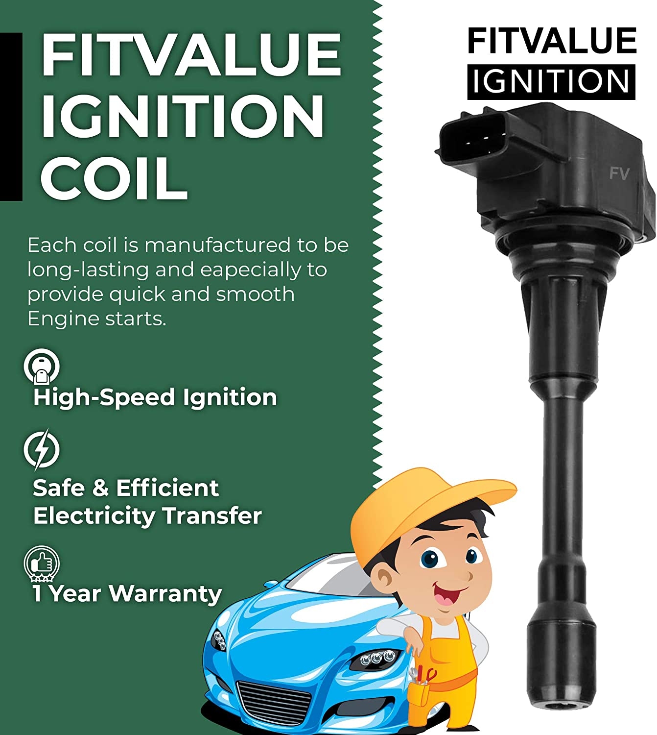 Premium Ignition Coil Pack of 4 Easy Fitting Parts for Altima Cube Sentra Rogue Select NV200 Pathfinder 1.8L 2.0L 2.5L//Infiniti FX50 M56 QX60 2.5L 5.0L 5.6L C1696 UF549 5C1753