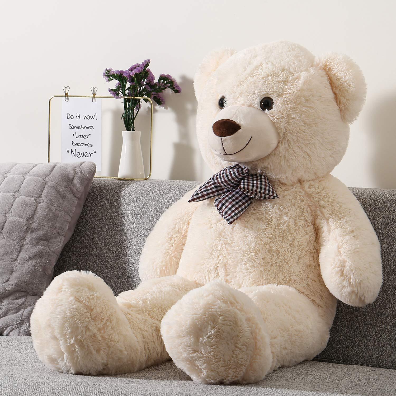 Shayon Oso de Peluche Gigante Grande Teddy 100cm Osito Suave y Cari/ñoso para Ni/ños y Adultos-Blanco