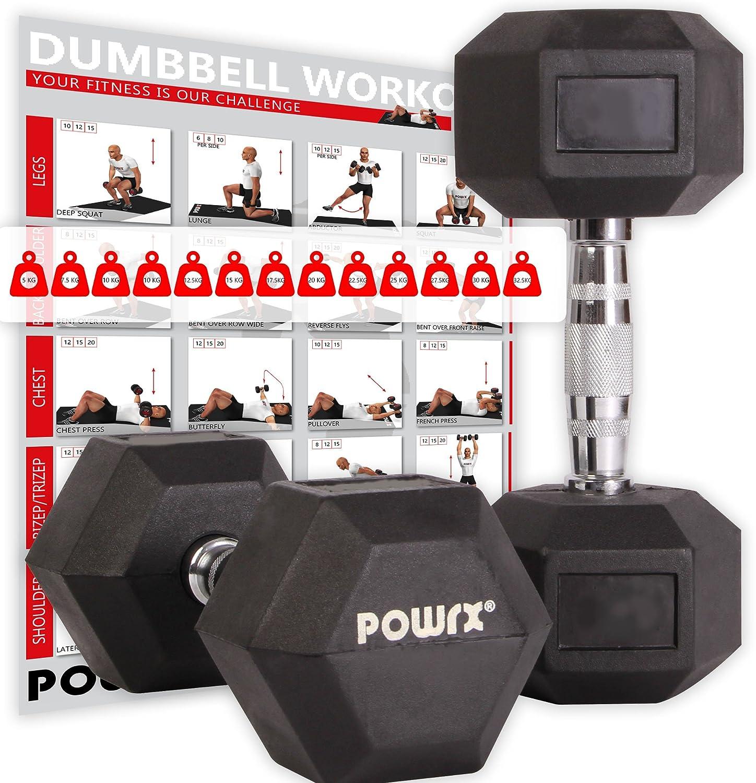 POWRX Hexagon-Hanteln (Paar) gummiert inklusive Workout bei amazon kaufen