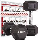 POWRX Hexagon-Hanteln (Paar) inkl. Workout | 5-32,5 kg | gummiert | rutschsichere, verchromte Griffe | Kurzhantel-Set | Dumbbell-Set