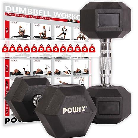 POWRX Hexagon-Hanteln (Paar) inkl. Workout | 5-32,5 kg | gummiert | rutschsichere, verchromte Griffe | Kurzhantel-Set | Dumbb