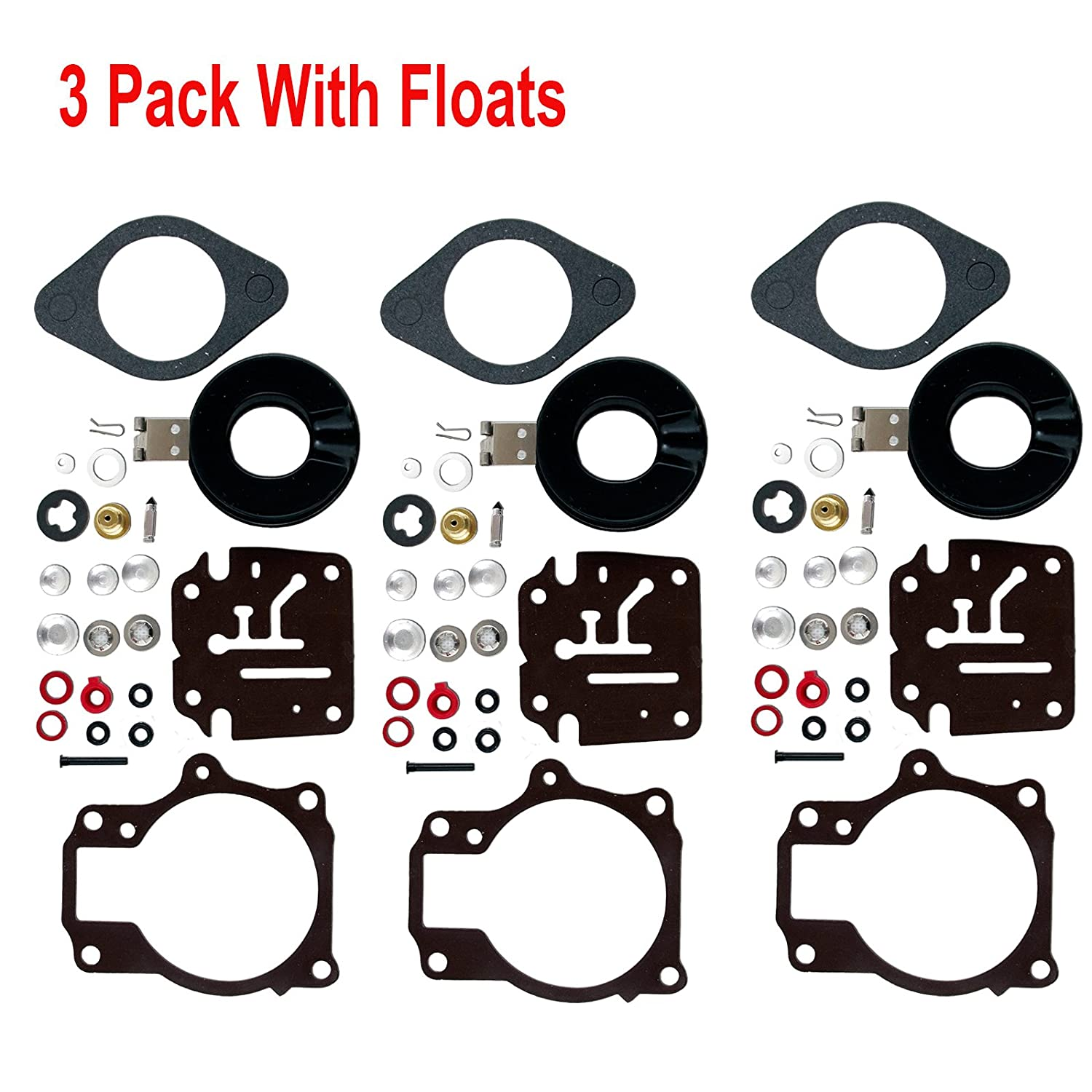 3 PACK JOHNSON EVINRUDE OUTBOARD CARB KIT REPLACES 392061 398729 396701 18-75 HP