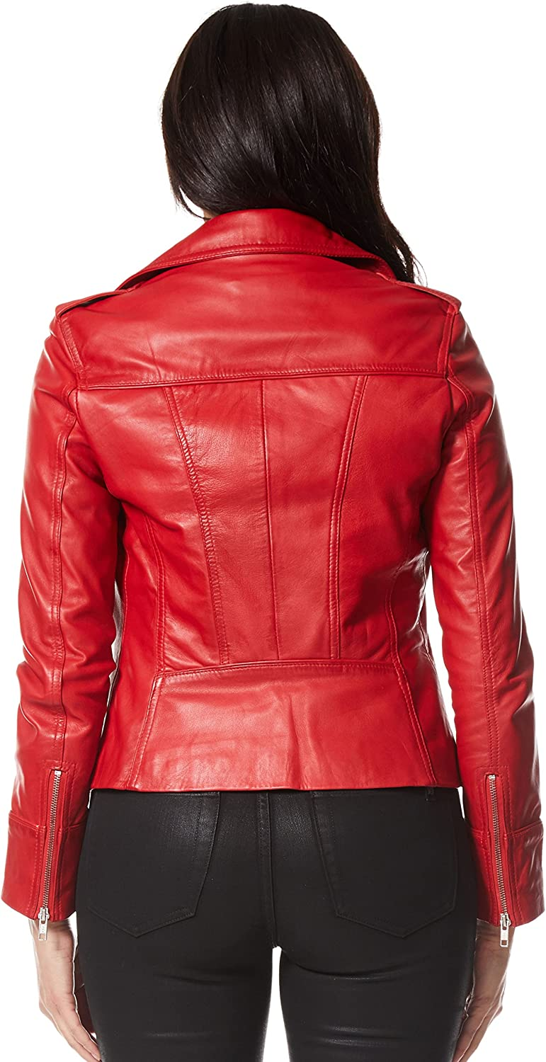 Rider Ladies Red Biker Motorcycle Style Soft Real Nappa Leather Jacket 9823