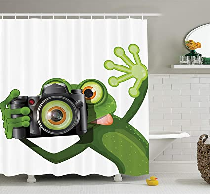 Afagahahs Shower Curtains Animal Photographer Merry Green Frog Taking His Camera Cute Funny Artful Print Kelly