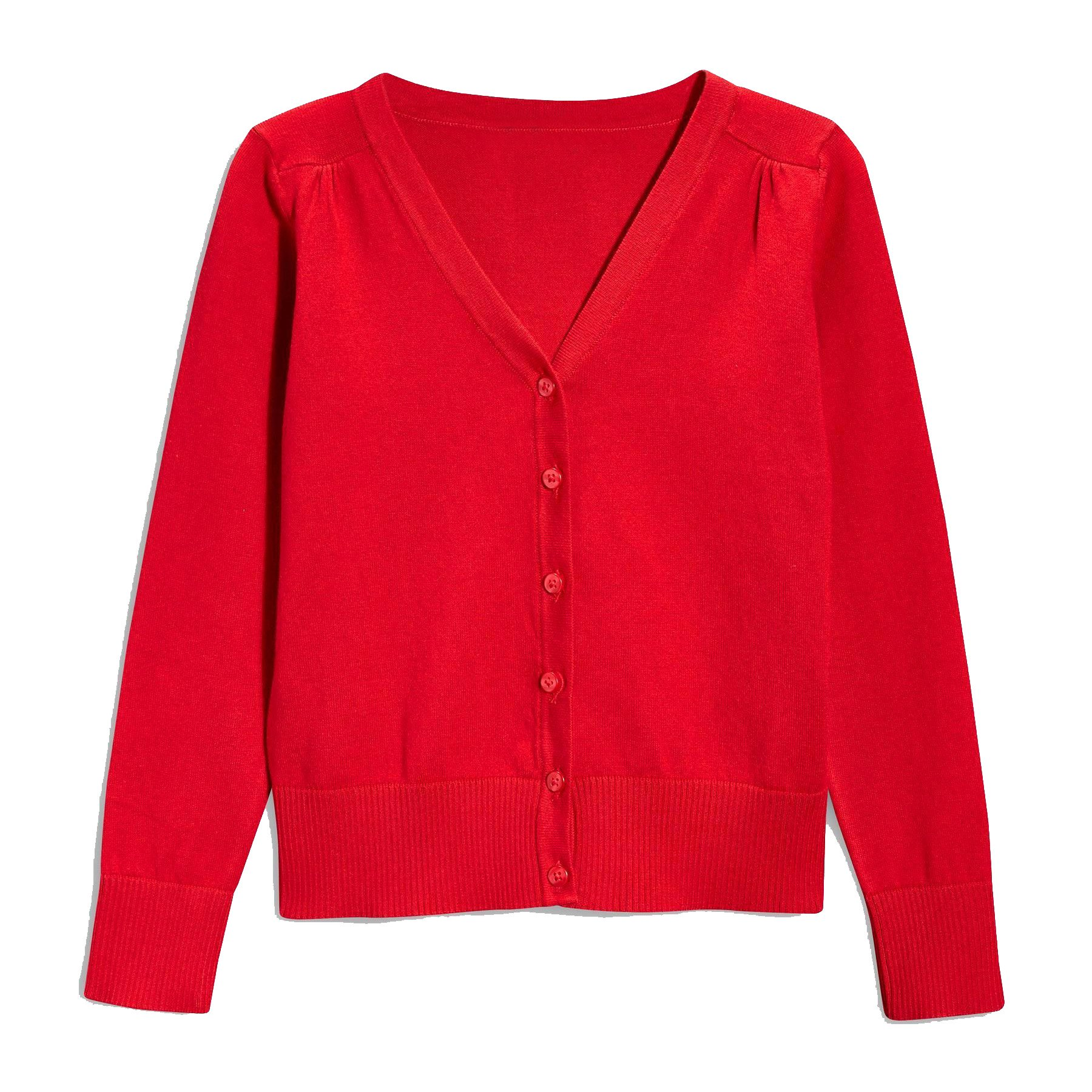 Hollywood Star Fashion Khanomak Kids Girls V Neck Cardigan Sweater (Size 5/6, Red)