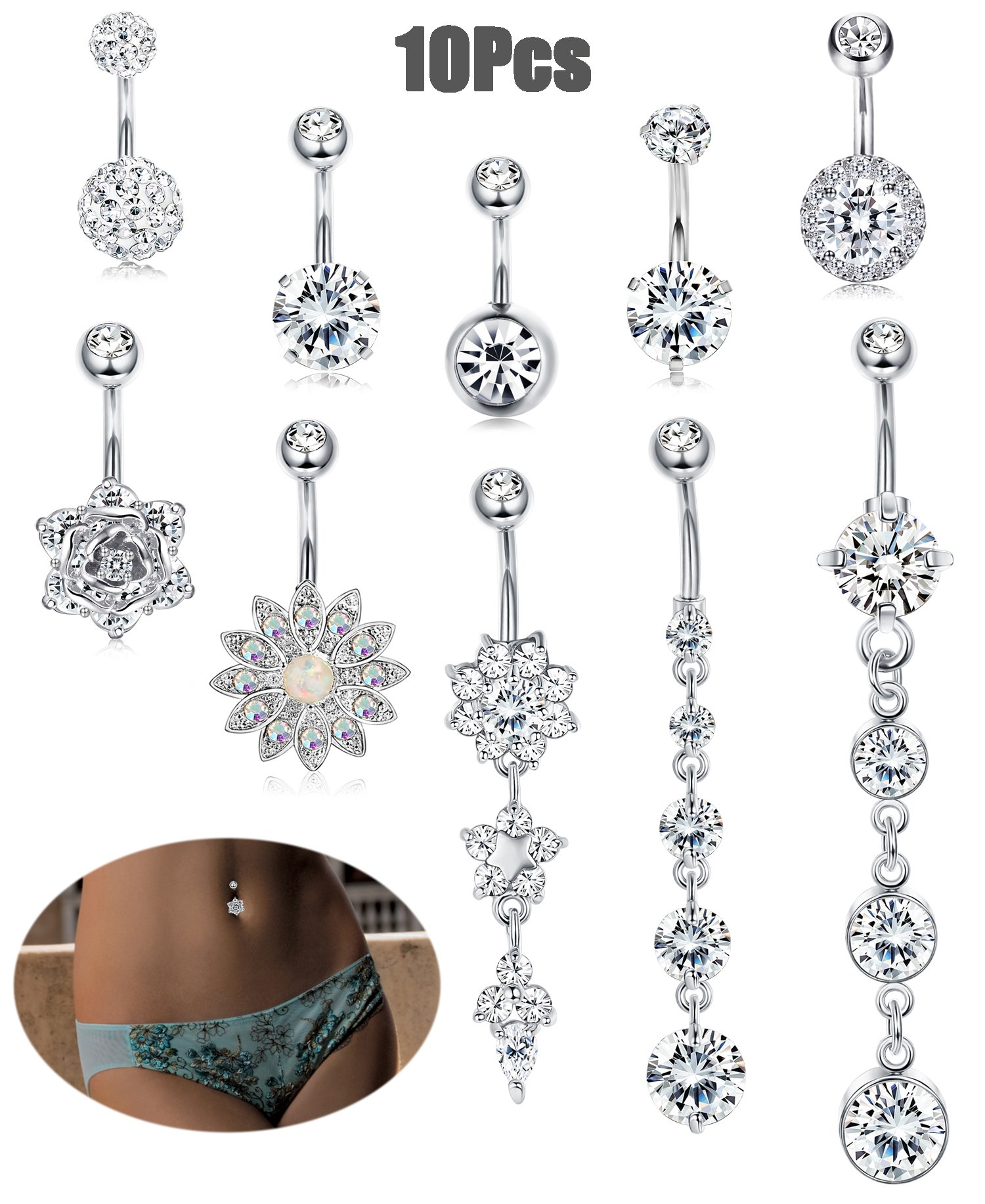 JOERICA 10Pcs 14G Stainless Steel Belly Button Rings for Women Flower Body Jewelry CZ Navel Piercing Silver-tone