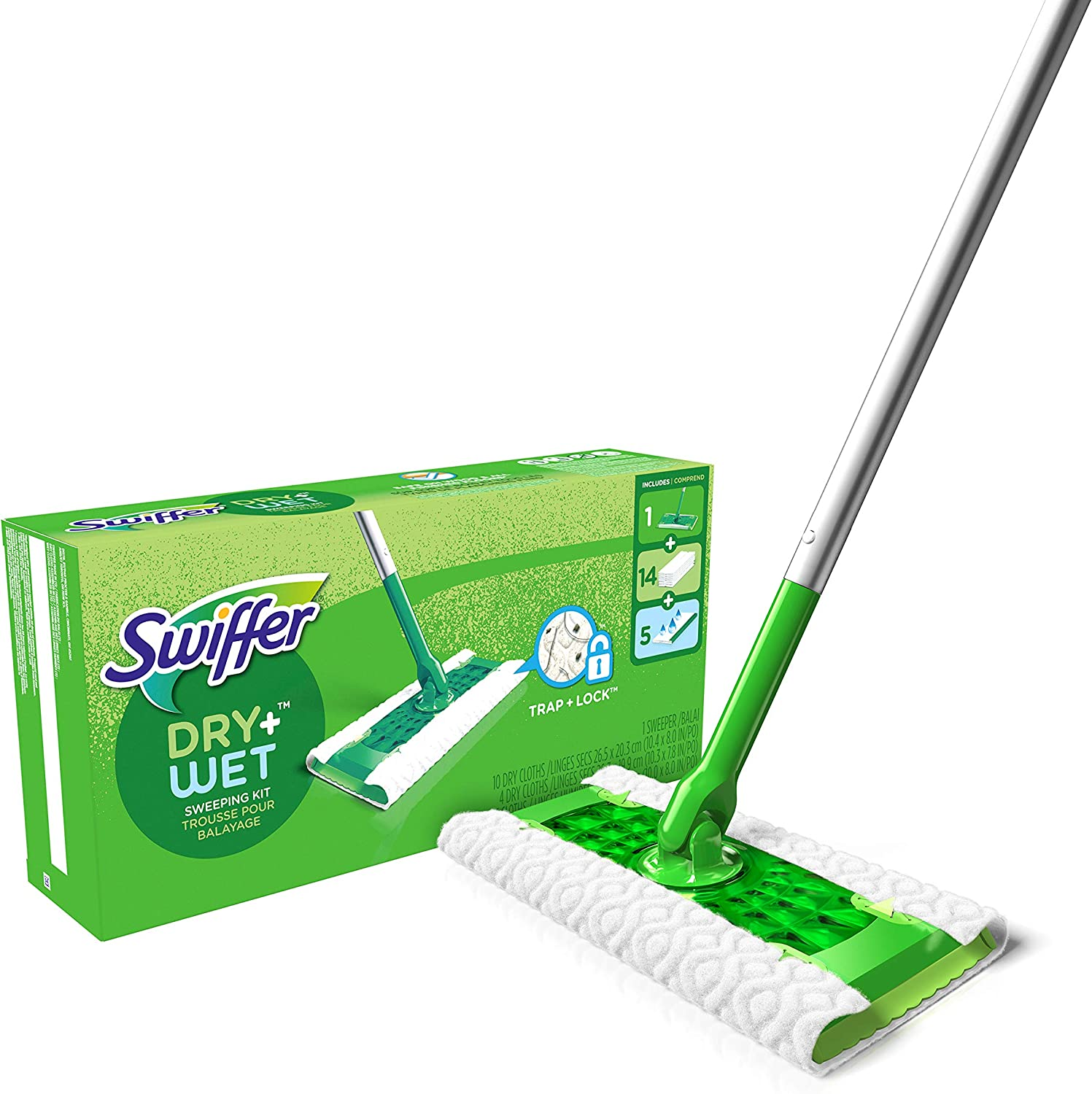 Swiffer Sweeper Dry + Wet All Purpose Floor Mopping and Cleaning Starter Kit with Heavy Duty Cloths, Includes: 1 Mop, 19 Refills: Health & Personal Care