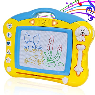 SGILE Magnetic Drawing Board, Musical Color Magna Doodle Writing Painting Board with Light and Music, Non-Toxic Erasable Sketching Sketch Pad for Toddlers Kids, Yellow