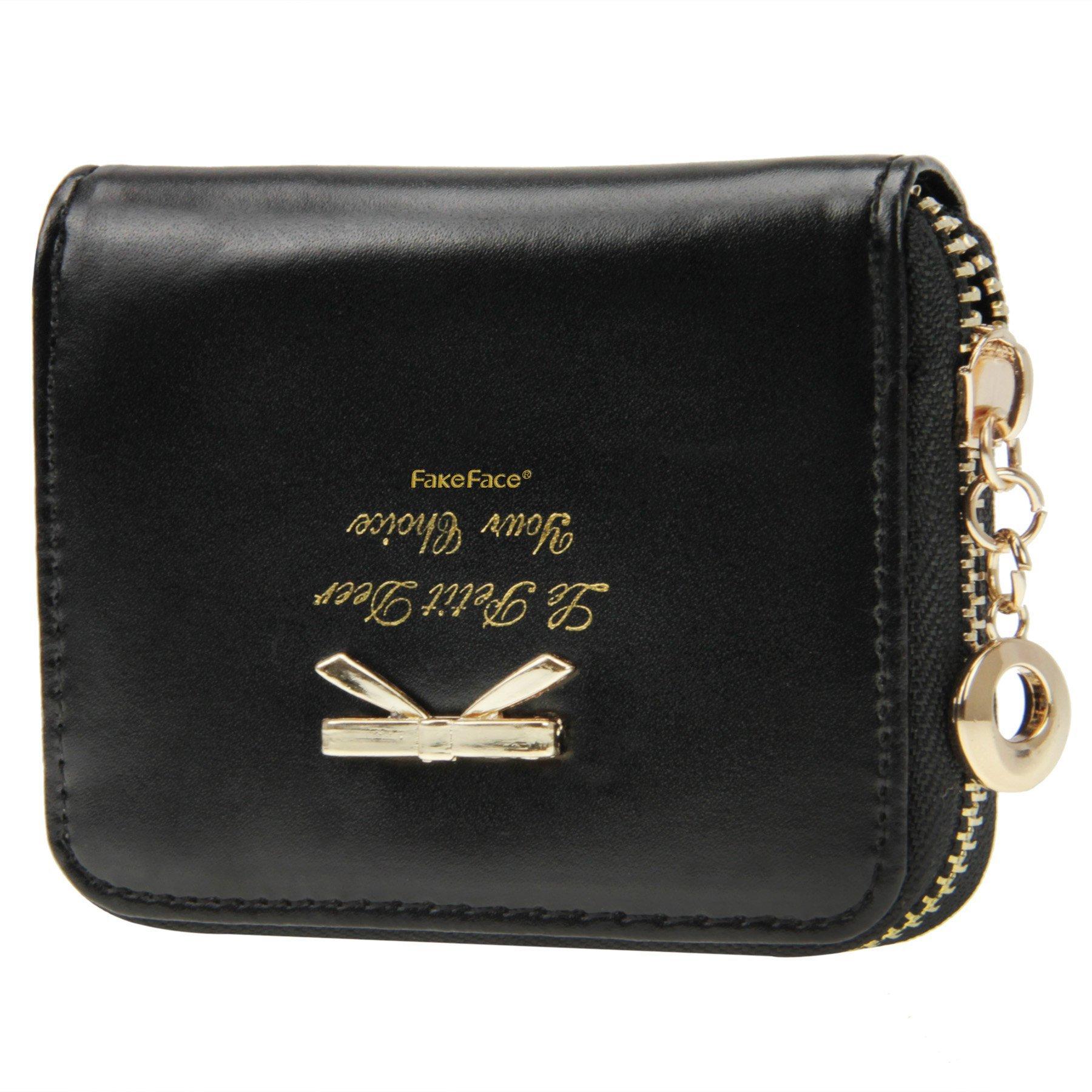 Women Girls Cute Bowknot Waterproof PU Leather Fold Mini Short Wallet Coin Purse Zipper Card Case Holder Clutch Small Handbag Nice Gift