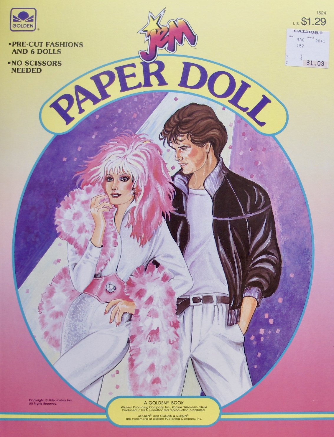 Golden JEM PAPER DOLL BOOK (UNCUT) w 6 Card Stock DOLLS & Pre-Cut FASHIONS (1986 Hasbro)