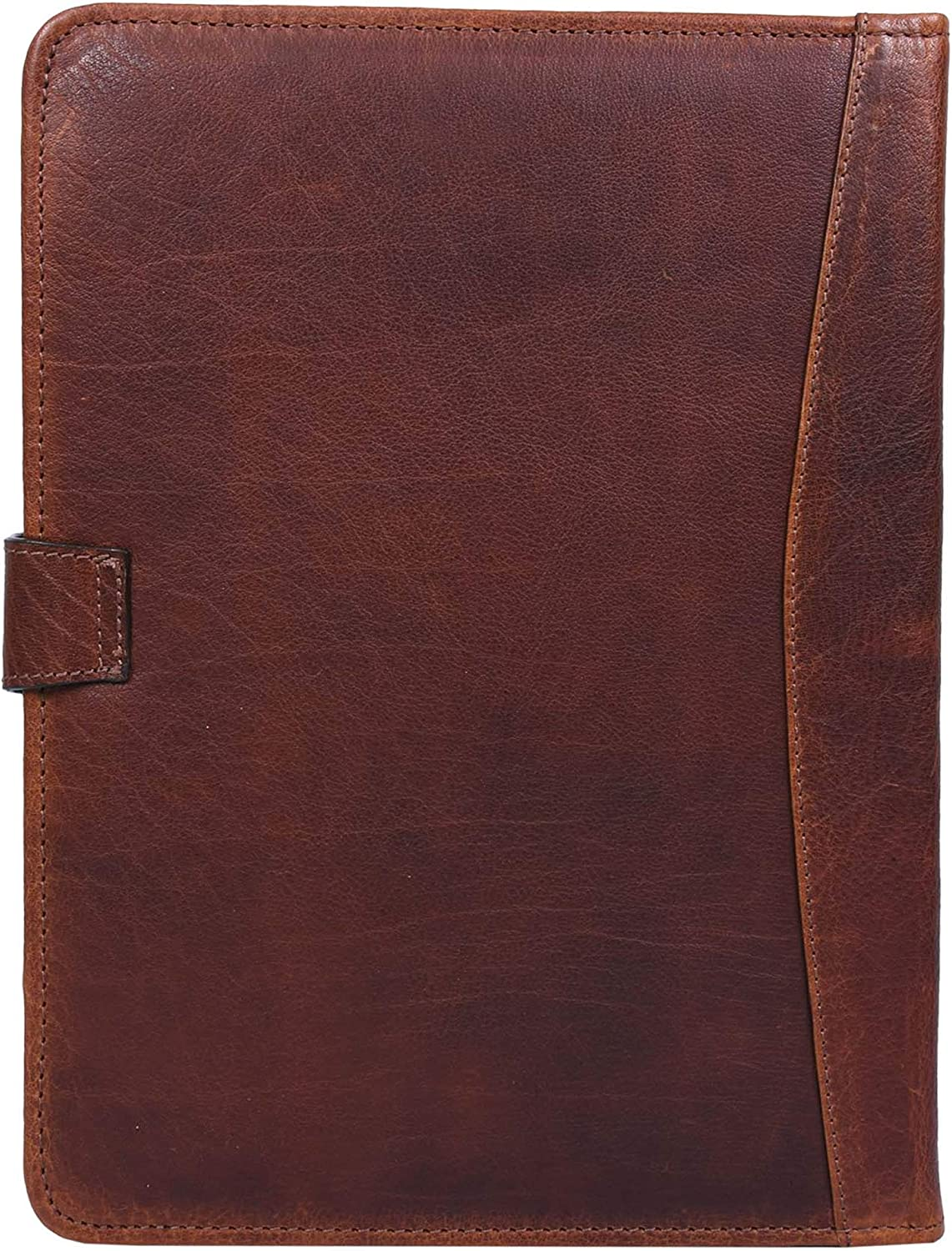 Caramel Easy to Carry Organizer with Writing Pad Holder Zippered Genuine Leather Business Portfolio Business Card and Pen Slots IPAD//Tablet Holder and Flip-Closure Phone Pocket