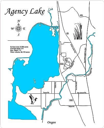 Amazon Com Agency Lake Oregon Framed Wood Map Wall Hanging Handmade