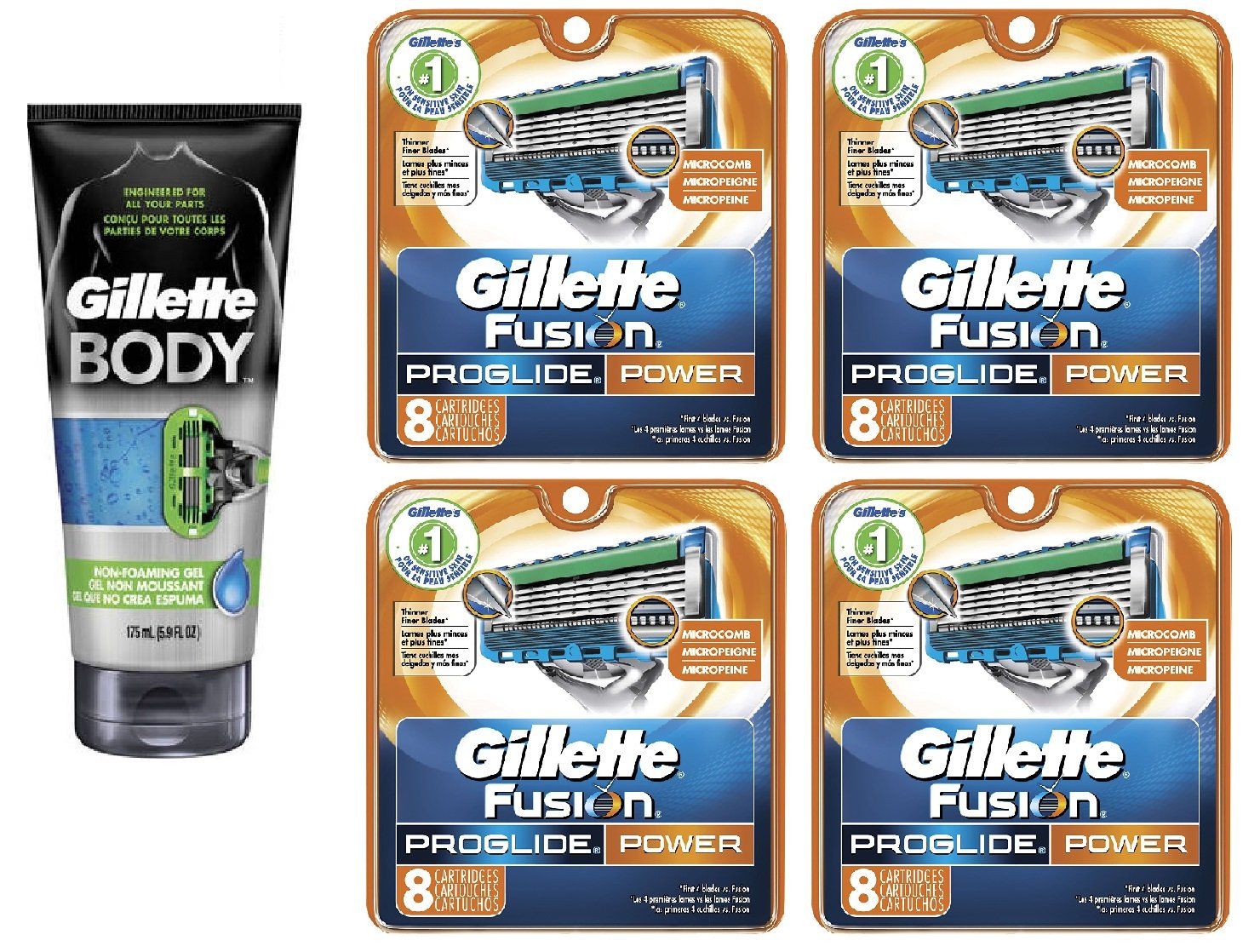 Gillette Body Non Foaming Shave Gel for Men, 5.9 Fl Oz + Fusion Proglide Power Refill Blades 8 Ct (4 Pack) + FREE Assorted Purse Kit/Cosmetic Bag Bonus Gift