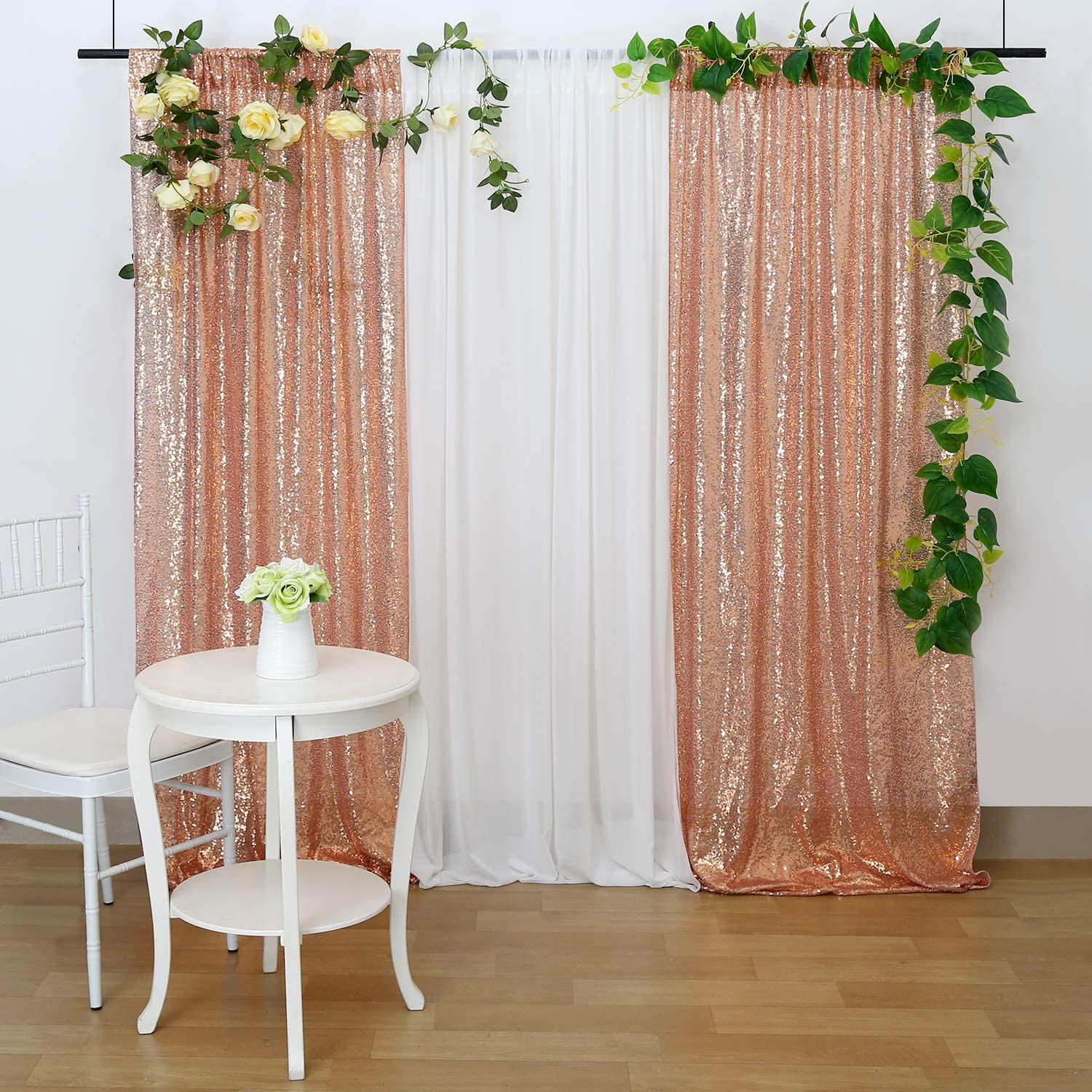 Sequin Backdrop Sparkly Photo Curtain 4ftx6.5ft Champagne Blush Wedding Party Christmas Back Curtain