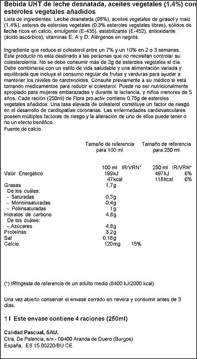 Flora Folic B Semidesnatada - 1 L (Pack de 4): Amazon.es: Alimentación y bebidas