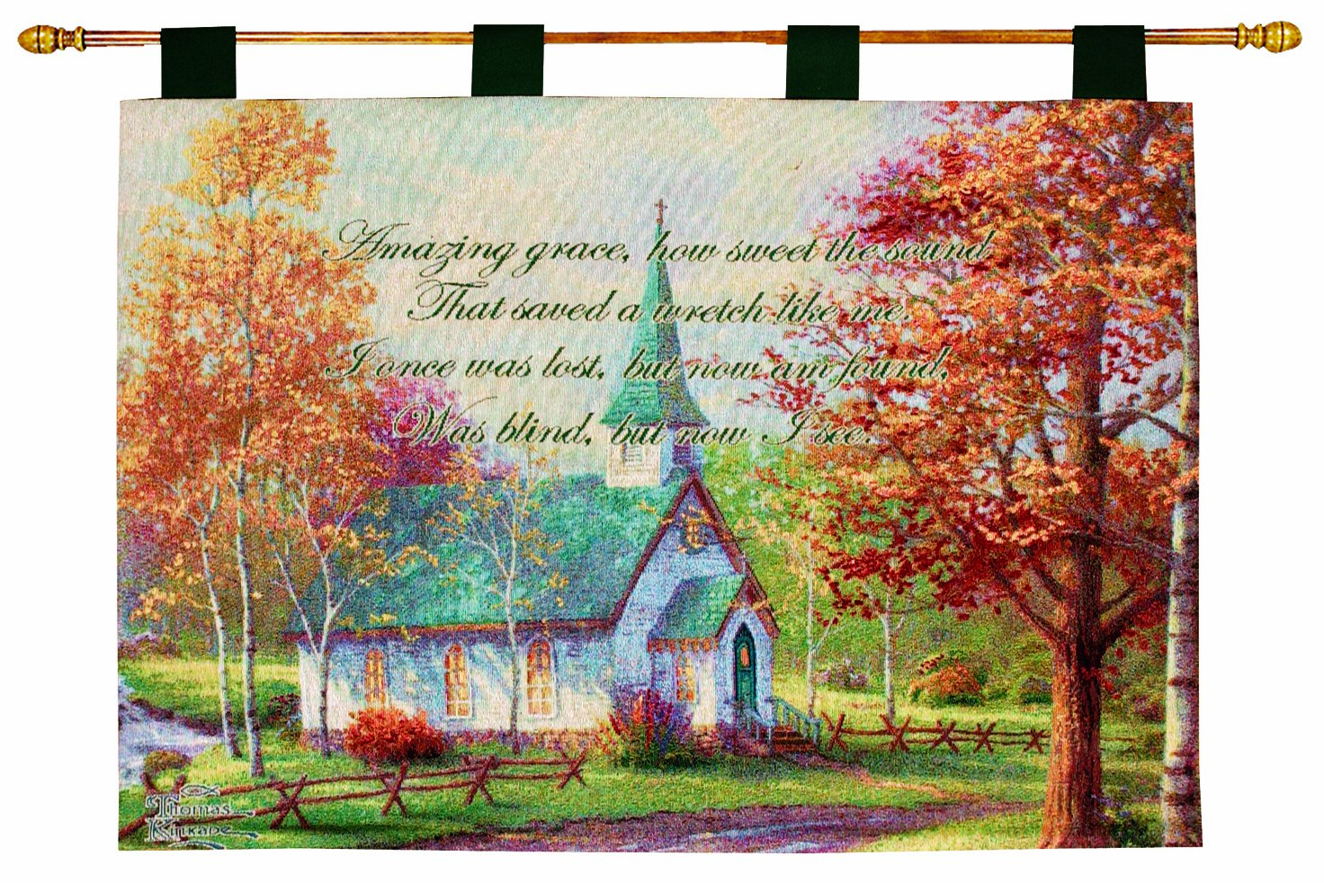 Manual Inspirational Collection Wall Hanging and Finial Rod, Chapel in The Woods with Verse by Thomas Kinkade, 36 X 26-Inch