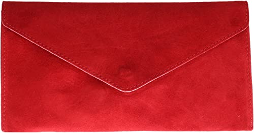 Girly Handbags Italian Suede Leather Envelope Clutch Bag