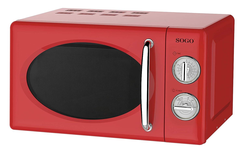 Microondas estilo Retro, capacidad 20 Litros, 700 W, temporizador, varios niveles de potencia, color Rojo