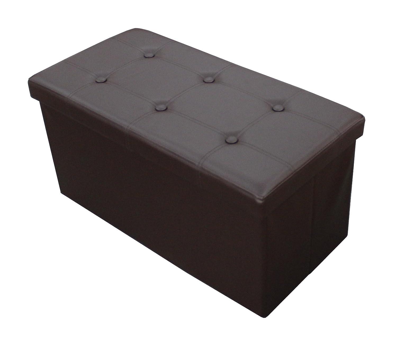 30 Long Faux Leather Folding Storage Bin Bench Seat