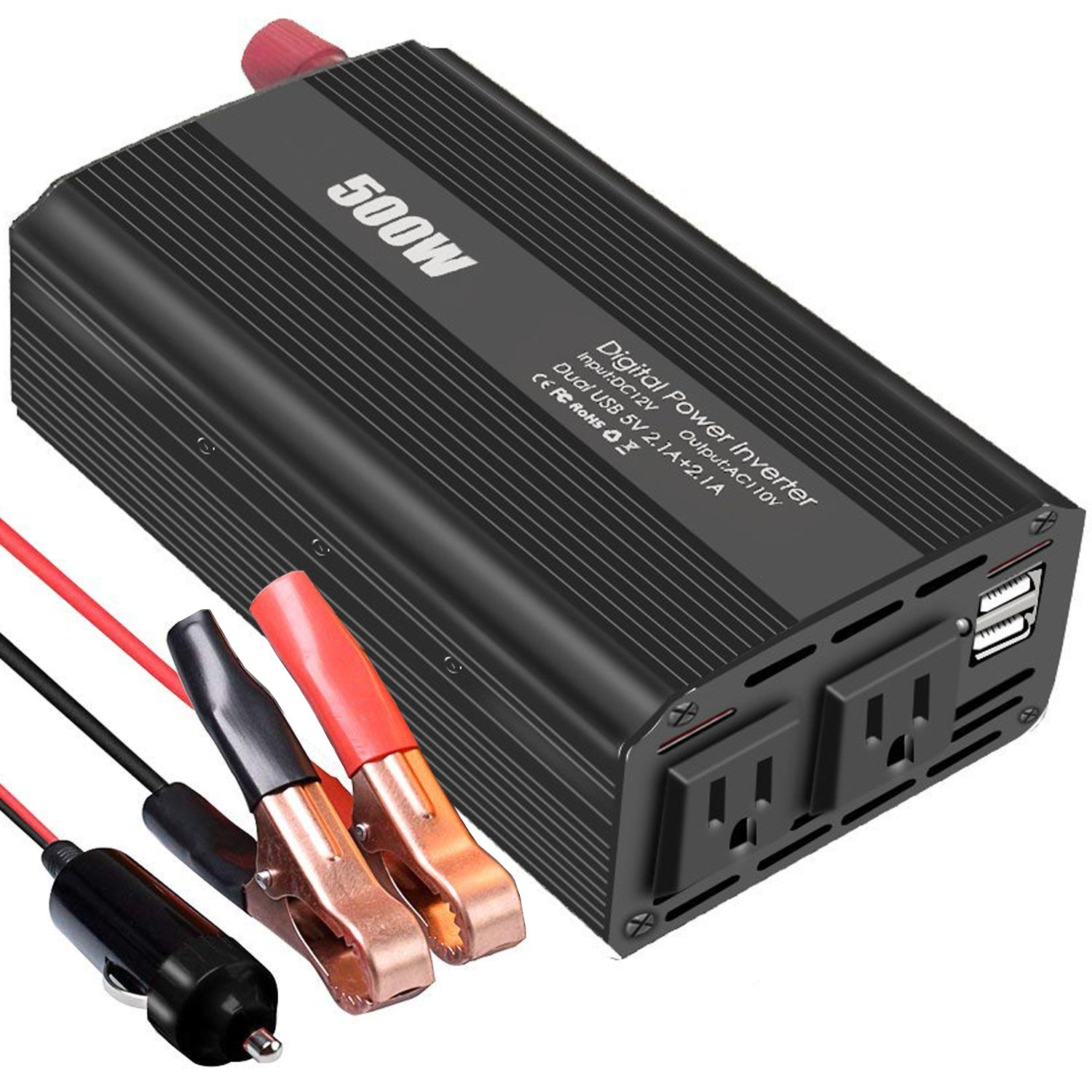 Power Inverter 500W DC 12V to AC 110V Converter with 4.2A Dual USB Charging Ports and 2 AC Outlets for Smartphones, Tablets, Laptops, Nebulizer