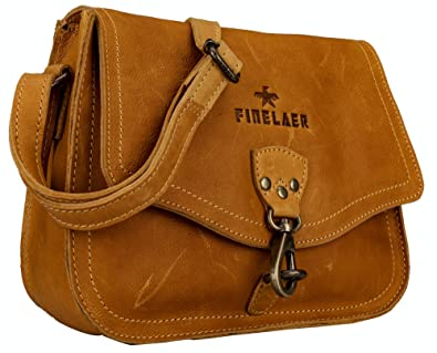 c1f3d024098b Image Unavailable. Image not available for. Color  Finelaer Women Vintage  Leather Saddle Crossbody Bag