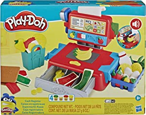 Play-Doh Cash Register Toy for Kids 3 Years and Up with Fun Sounds, Play Food Accessories, and 4 Non-Toxic Colors
