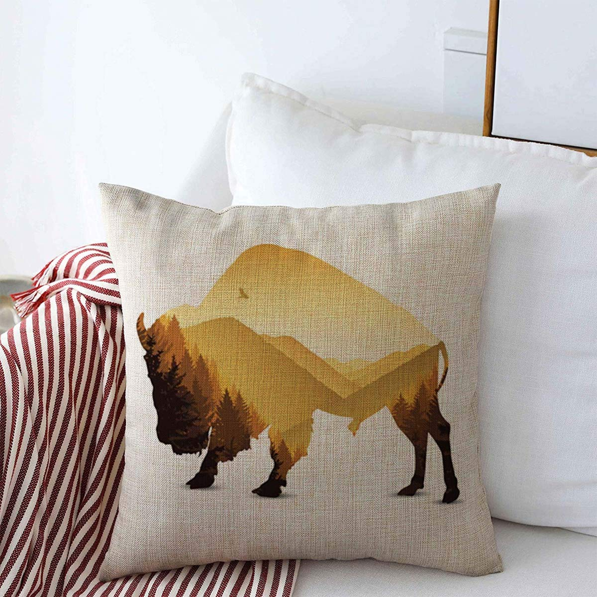 """Decorative Linen Throw Pillow Covers Outdoors Brown Autumn Bison Golden Pine Forest Dusk Panorama Yellow Buffalo Bull Coniferous 16"""" x 16"""" Square Cushion Case for Home Decor"""