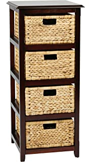 Ordinaire OSP Designs Office Star Seabrook 4 Tier Storage Unit With Natural Baskets,  Espresso Finish