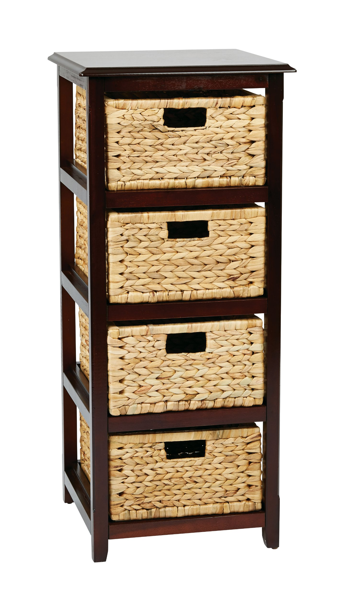 Office Star Seabrook 4-Tier Storage Unit with Natural Baskets, Espresso Finish by OSP Designs