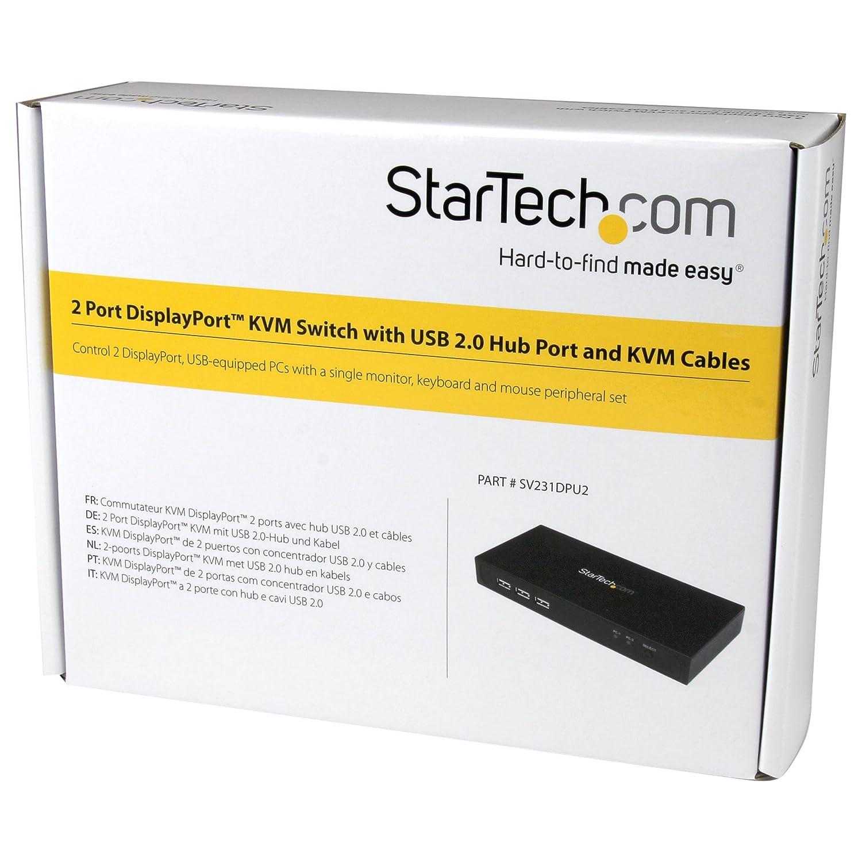 StarTech.com SV231DVIUA USB 2.0, 3 x DVI-D Hembra, 4 x USB A Hembra, 6 x Mini Jack Hembra Switch KVM de 2 Puertos