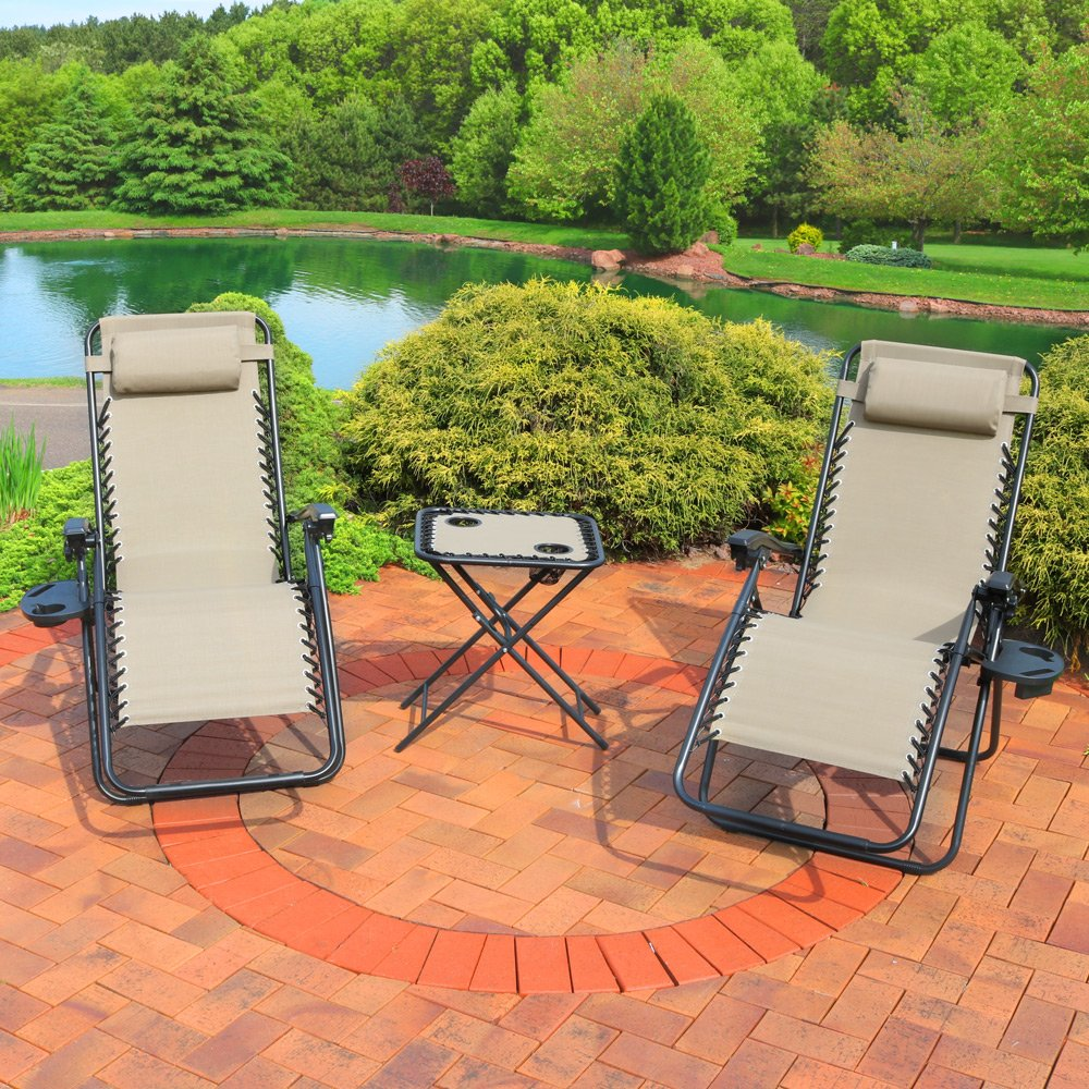 MF STUDIO 3 Piece Patio Swing Glider Bench Outdoor Swing Rocker Chair Bistro Set with 2 Rocking Chairs 1 Table, Brown 2 Chairs 1 Table